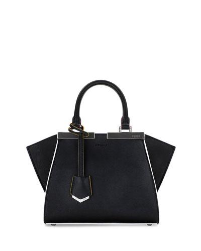 Fendi Trois-Jour Mini Painted-Edges Tote Bag, Black/Multi