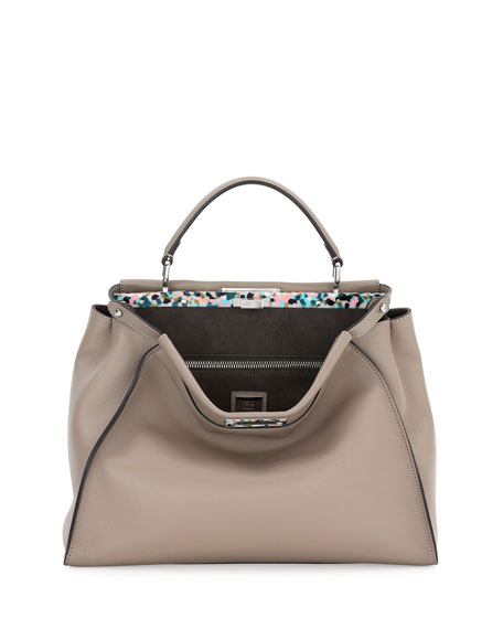 Fendi Peekaboo Large Granite Plexi Satchel Bag, Dove