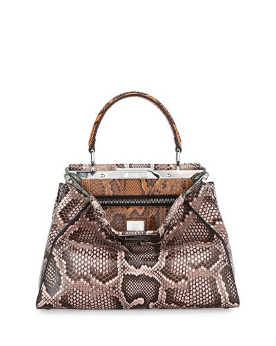 Peekaboo Medium Python Bag, Powder Multi