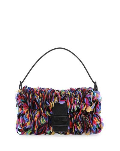 Baguette Sequin Paillettes Shoulder Bag, Black/Multi