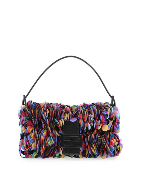 Fendi Baguette Sequin Paillettes Shoulder Bag, Black/Multi