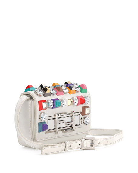 Baguette Mini Studded/Rhinestone Bag, White Multi