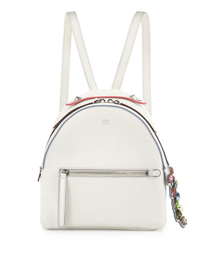 Mini Crystal Croc-Tail Backpack, White/Multi