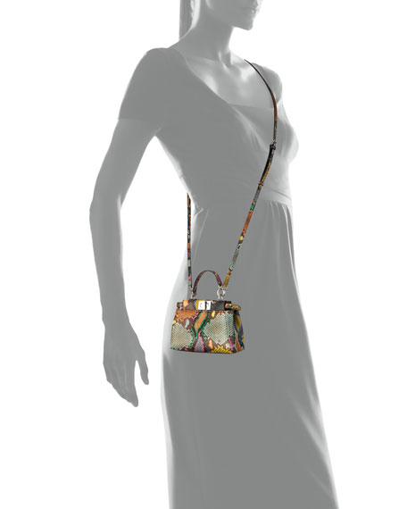 Peekaboo Micro Painted Python Satchel Bag, Multi