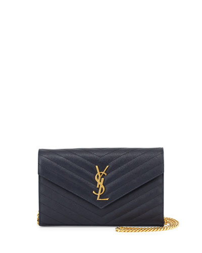 Monogram Leather Wallet-on-Chain Bag, Marine Navy