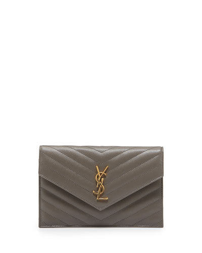 Monogram Chevron Quilted Shoulder Bag, Fog Gray