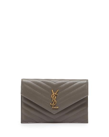 Saint Laurent Monogram Chevron Quilted Shoulder Bag, Fog Gray