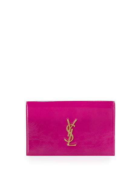 Saint Laurent Monogram Leather Clutch Bag, Electric Pink