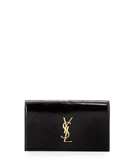 Saint Laurent Monogram Leather Clutch Bag, Black