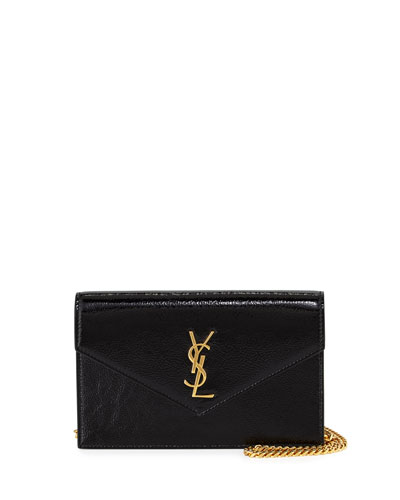 Monogram Glossy Wallet-on-Chain Bag, Black