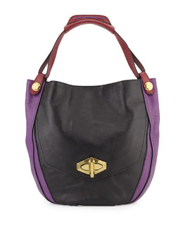 Julia Colorblock Hobo Bag, Black/Multi
