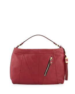 Connie Leather Hobo Bag, Burgundy