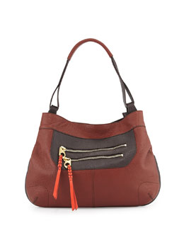 Sandy Leather Hobo Bag, Chest/Multi Colors