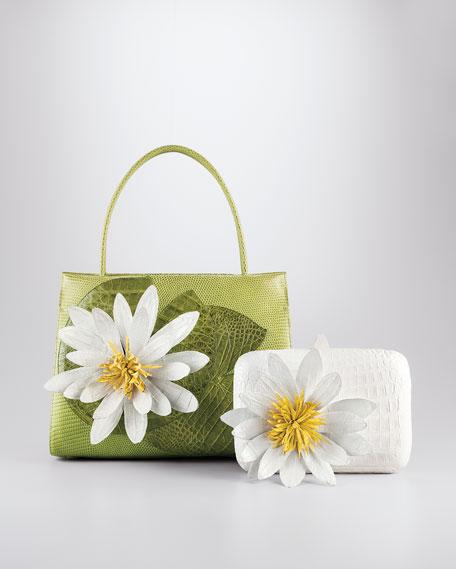 Crocodile Lotus Box Clutch Bag, White Multi