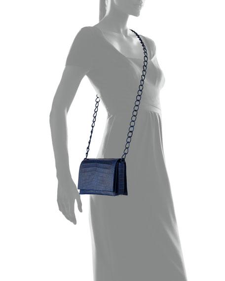 Crocodile Triple-Gusset Mini Crossbody Bag, Blue Matte<br>
