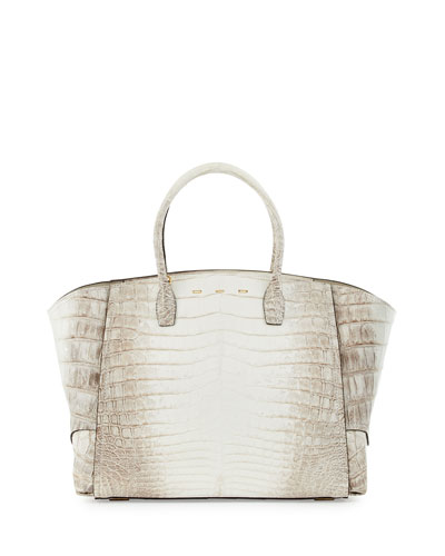 Brera 34 Crocodile Sport Satchel Bag, White