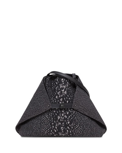 Ai Medium Embossed Shoulder Bag, Black