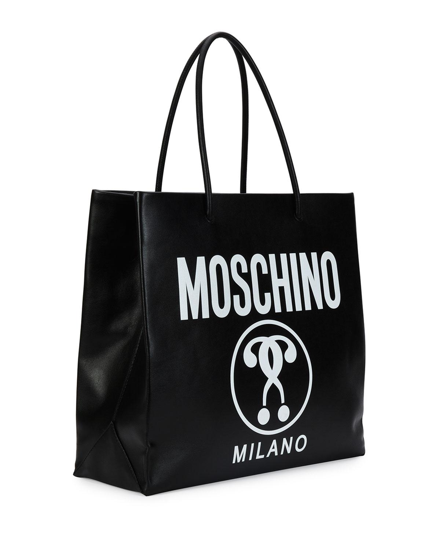 7676fa3e310 Moschino Large Logo-Print Shopping Tote Bag, Black | Neiman Marcus