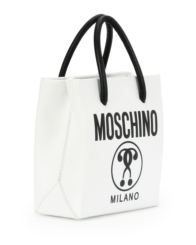5af8915eea6 Moschino Small Logo-Print Shopping Tote Bag, White/Black | Neiman Marcus