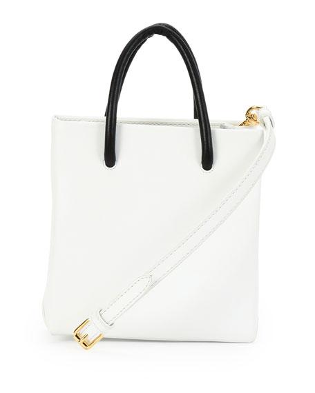 Moschino Small Logo-Print Shopping Tote Bag, White/Black