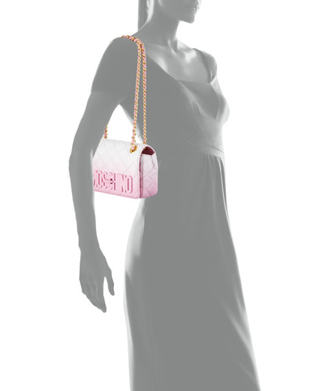 Ombre Quilted Medium Shoulder Bag, Pink