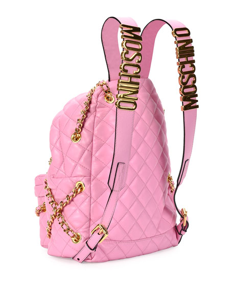 Chains Quilted Leather Backpack, Pink