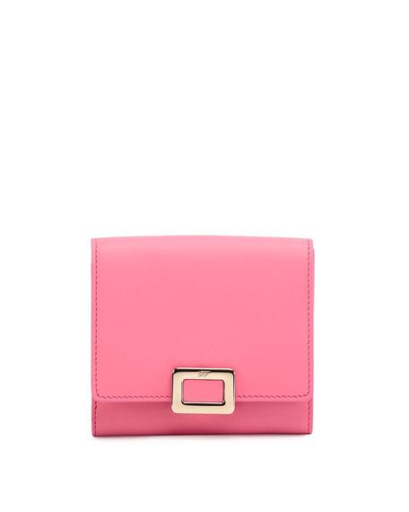 Roger Vivier Mini Buckle Square Wallet, Bubblegum Pink