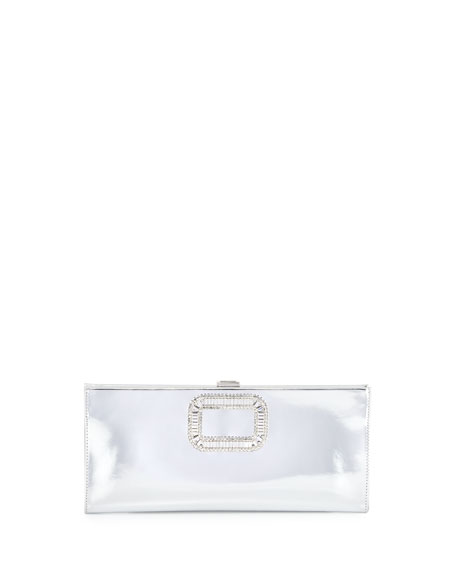 Roger Vivier Pilgrim Crystal-Buckle Clutch Bag, Silver