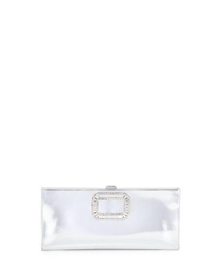 Roger Vivier Pilgrim Crystal-Buckle Clutch Bag, Silver