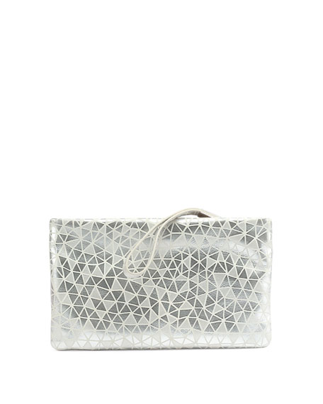 Roger Vivier Prismick Suede Pochette Bag, Silver/White