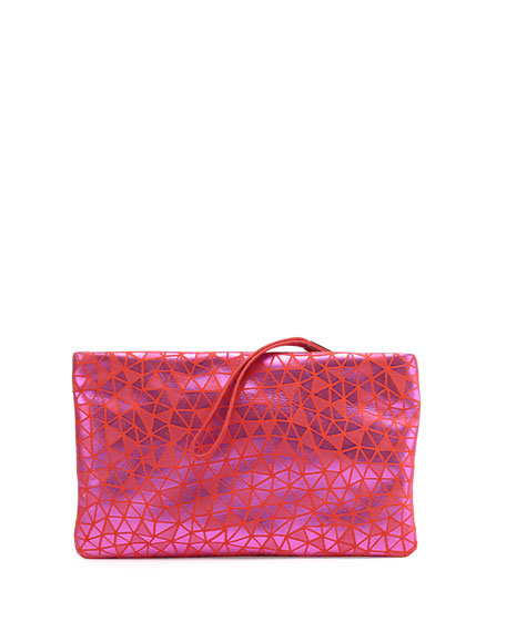 Roger Vivier Prismick Suede Pochette Bag, Pink/Orange