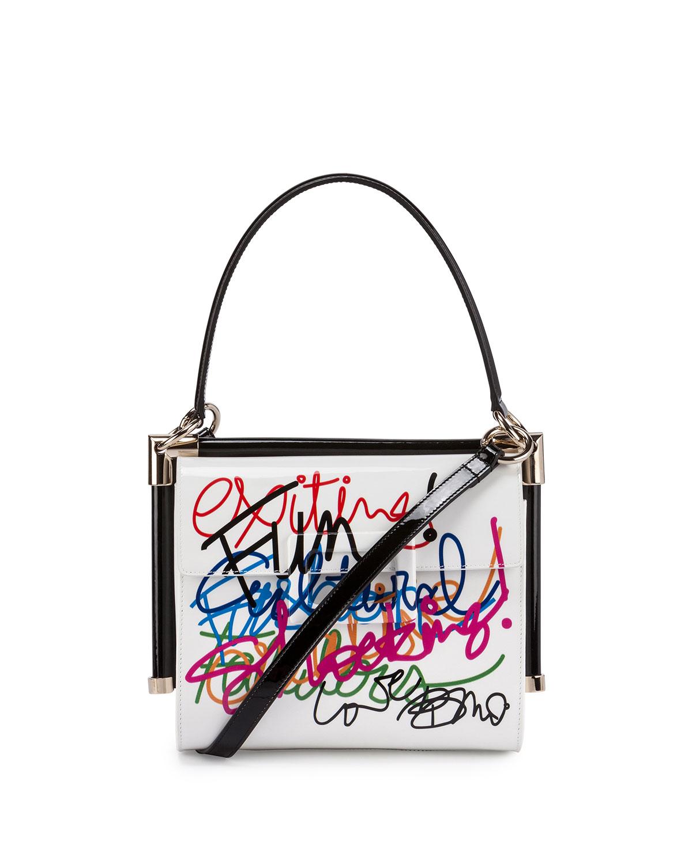 0088355c2d27 Roger Vivier Miss Viv' Carre Small Graffiti-Print Frame Bag, White ...