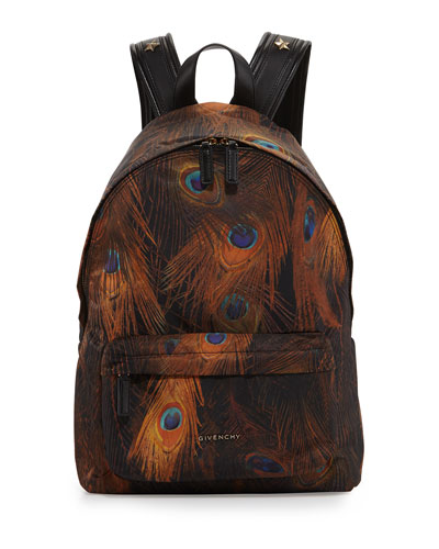 Nylon Peacock Feather Print Backpack, Brown Multi