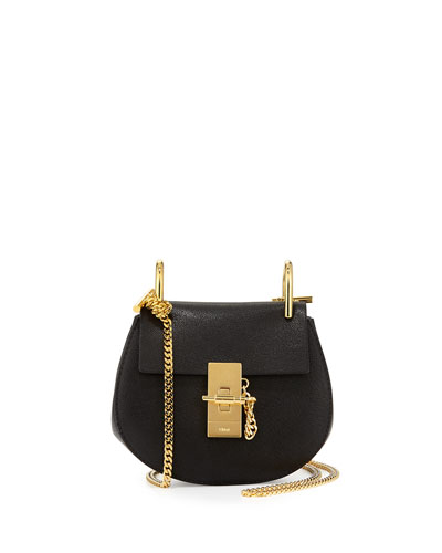 Drew Nano Lambskin Saddle Bag, Black