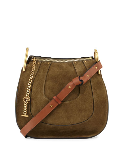 Hayley Small Suede/Leather Hobo Bag, Eucalyptus
