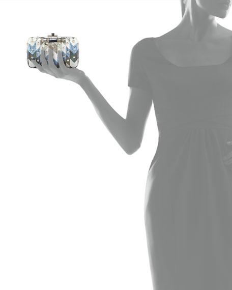 Metallic Chevron Dome-Studded Clutch Bag, Silver Blue Multi