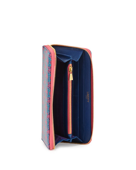 Liberty London Large Iphis Printed Canvas Zip Wallet, Navy