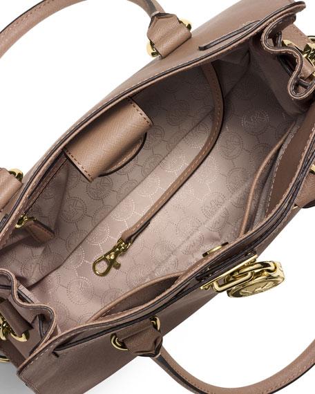 Hamilton Saffiano Satchel Bag, Dark Dune