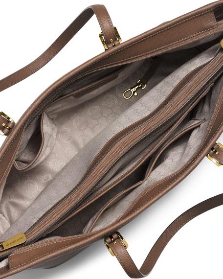 Jet Set Travel Medium Saffiano Tote Bag, Dark Dune
