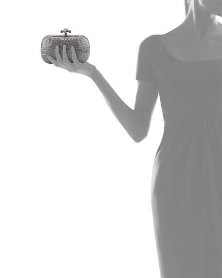 Knot Crocodile Clutch Bag, Gray