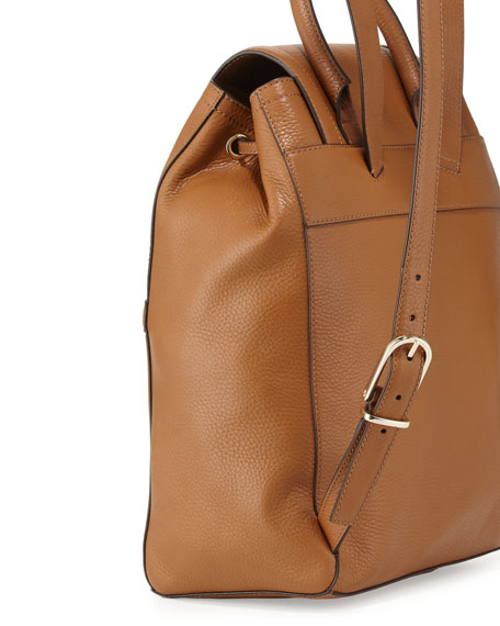 Serif-T Leather Backpack, Bark