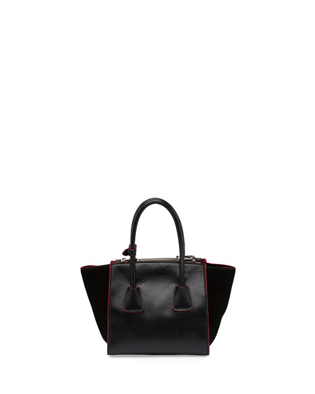 Calfskin and Suede Mini Twin-Pocket Tote Bag, Black (Nero)