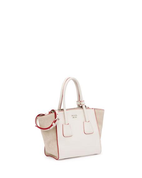 Calfskin and Suede Mini Twin-Pocket Tote Bag, White (Talco)