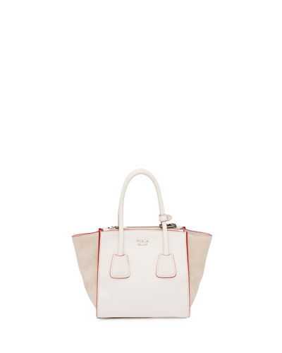Calfskin and Suede Mini Twin-Pocket Tote Bag, White (Talco)