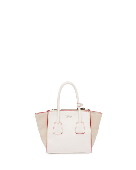 Prada Calfskin and Suede Mini Twin-Pocket Tote Bag, White (Talco)