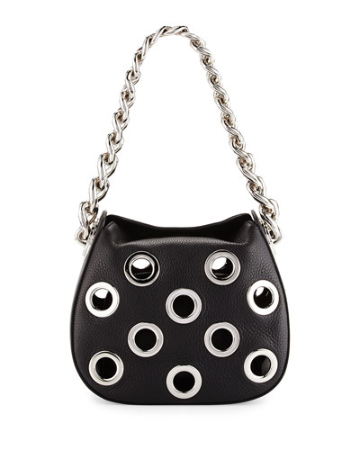 Vitello Daino Small Perforated Chain Hobo Bag, Black (Nero)