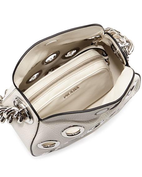 Prada Vitello Daino Small Perforated Chain Hobo Bag, White (Talco)