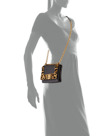 Prada Calf Hair \u0026amp; Calfskin Chain Shoulder Bag, Red Orange Leopard ...