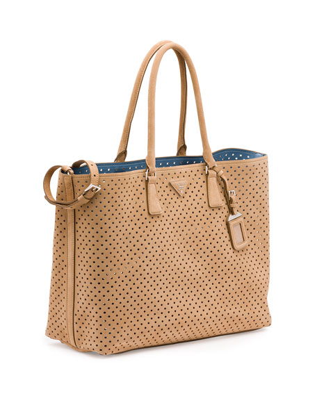 Prada Suede Perforated Tote Bag, Tan (Cammello)