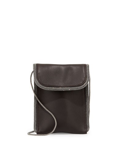 Monili-Trim Leather Mini Pouch Crossbody Bag, Smoke